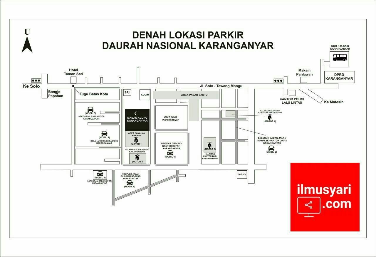 info kajian salafy di Denah Lokasi Parkir #Daurah Nasional #Karanganyar (20/01/2018)