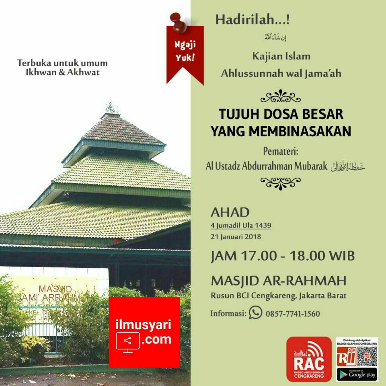 info kajian salafy di #Cengkareng #Jakarta Barat (21/01/2018)