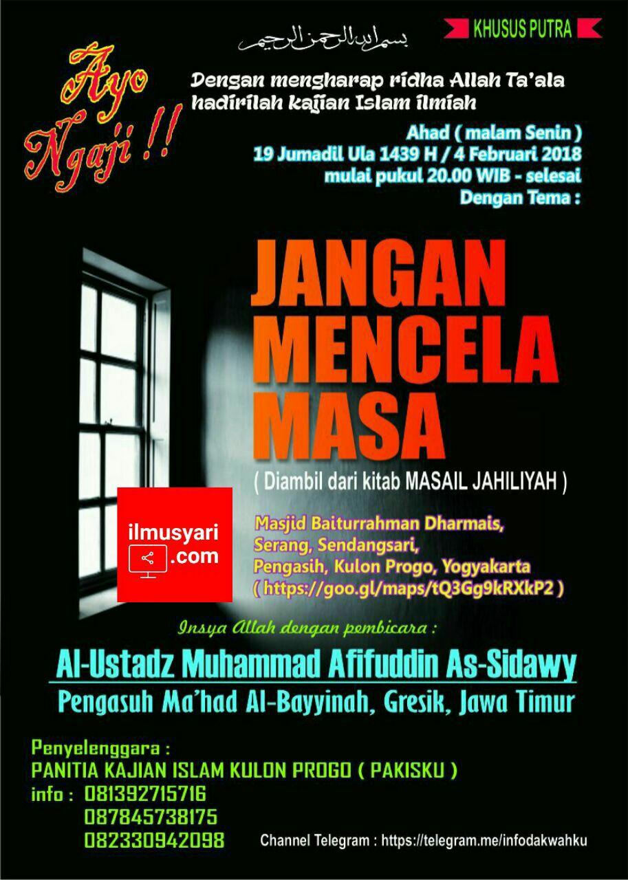 info kajian salafy di Masjid Baiturrahman Dharmais Kulonprogo (02/02/2018)