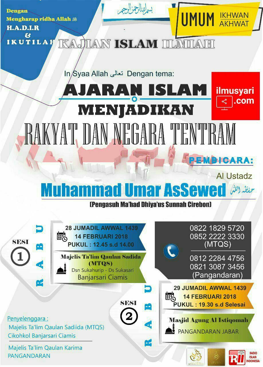 info kajian salafy di Banjarsari, Ciamis & Masjid Agung Pangandaran (14/02/2018)