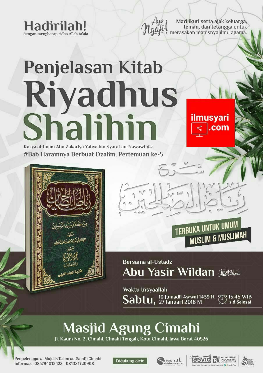info kajian salafy di Masjid Agung #Cimahi (27/01/2018)