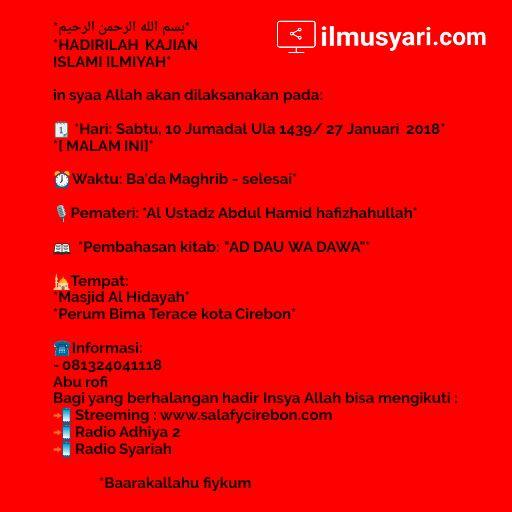 info kajian salafy di #Cirebon (27/01/2018)