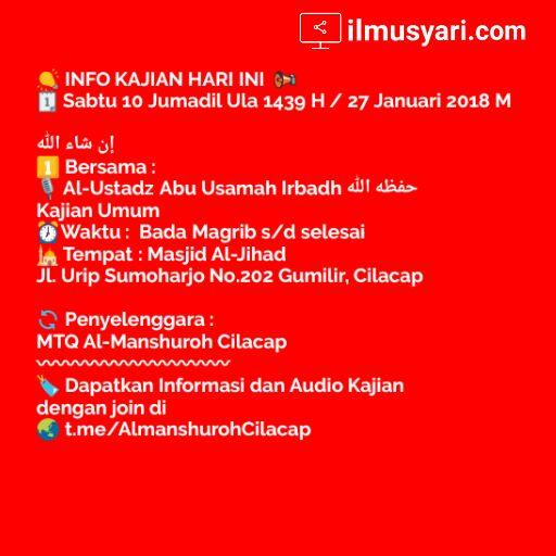 info kajian salafy di #Cilacap (27/01/2018)
