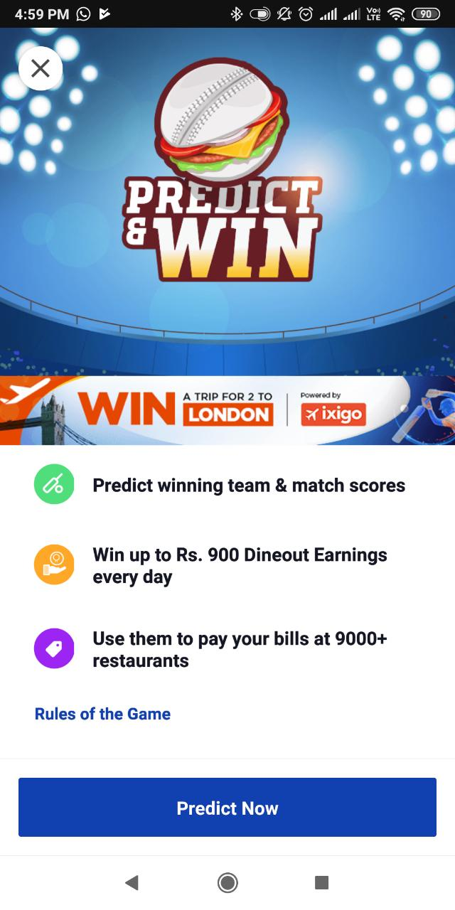 Dineout : Predict & Win dineout earnings upto 900 Signup